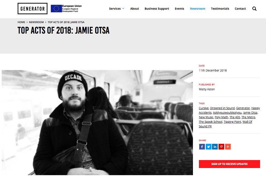 Jamie Otsa - Generator: Top Acts of 2018 - 2018